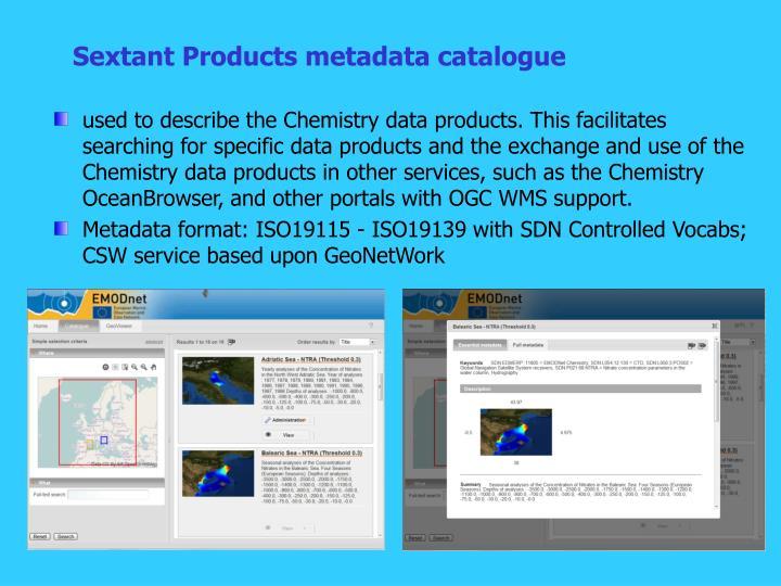 Sextant Products metadata catalogue