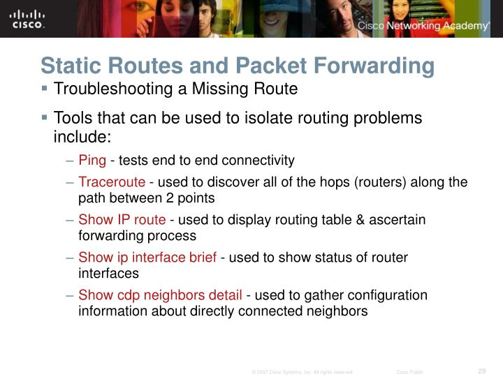 Static Routes and Packet Forwarding