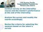 chs nursing faculty responsibilities towards the mentors and interns