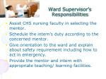 ward supervisor s responsibilities