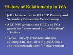 history of relationship in wa