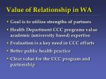 value of relationship in wa