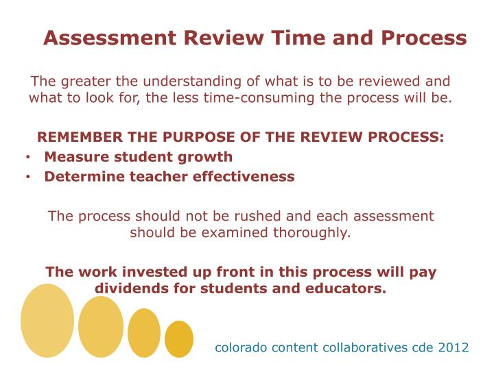 Assessment Review Time and Process