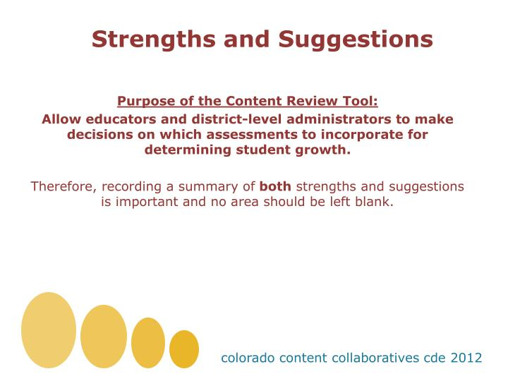Strengths and Suggestions