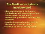 the medium for industry involvement