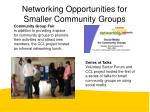 networking opportunities for smaller community groups