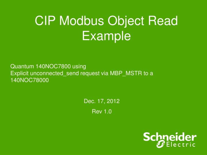 PPT - CIP Modbus Object Read Example PowerPoint Presentation - ID