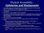 physical accessibility cafeterias and restaurants