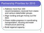 partnership priorities for 2010