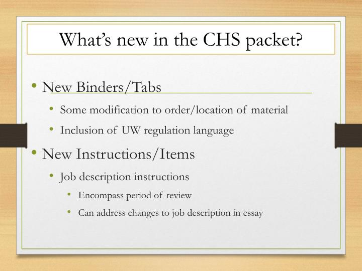 What's new in the CHS packet?