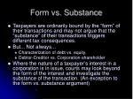form vs substance