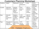customers planning worksheet