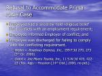 refusal to accommodate prima facie case