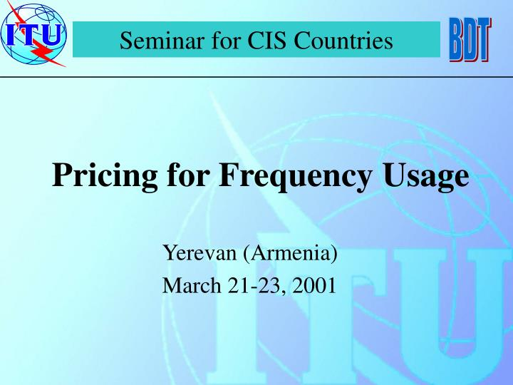 pricing for frequency usage n.