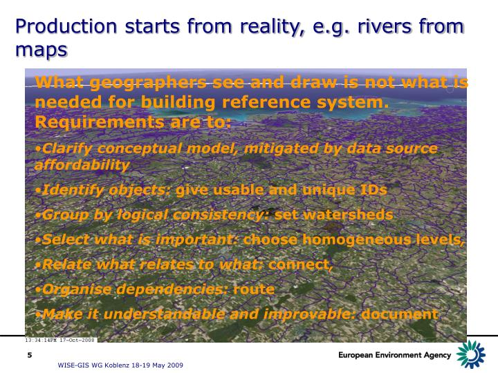 Production starts from reality, e.g. rivers from maps