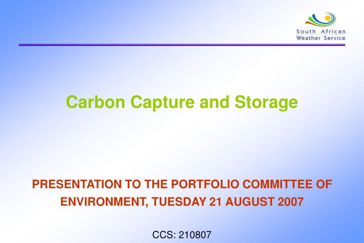 carbon capture and storage n.