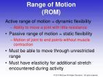 range of motion rom