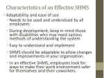 characteristics of an effective shms