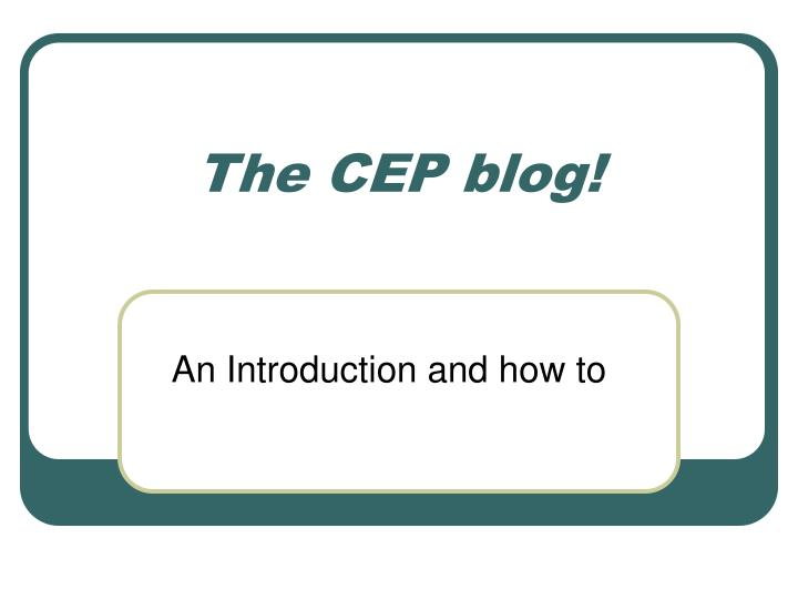 the cep blog n.