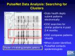 pulsenet data analysis searching for clusters