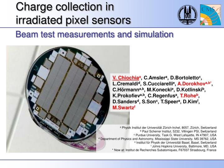 charge collection in irradiated pixel sensors n.
