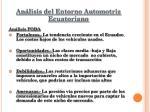 an lisis del entorno automotriz ecuatoriano