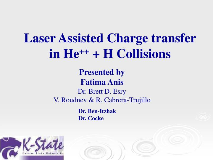 laser assisted charge transfer in he h collisions n.