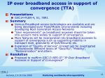 ip over broadband access in support of convergence tta