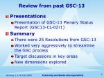 review from past gsc 13