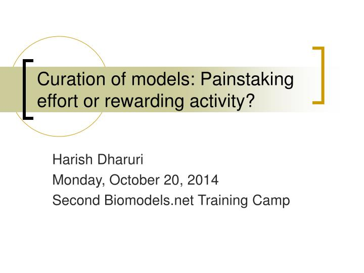 curation of models painstaking effort or rewarding activity n.