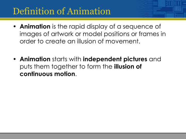 Definition of animation