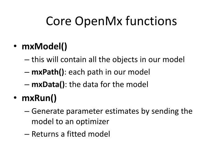 Core OpenMx functions
