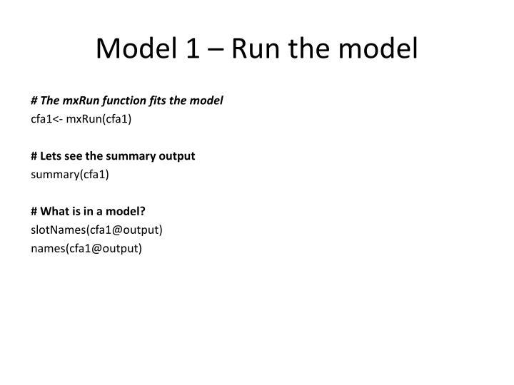 Model 1 – Run the model