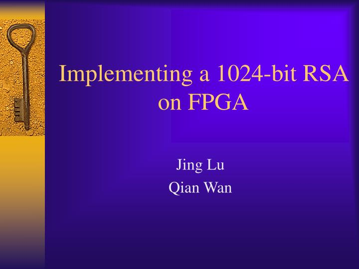 implementing a 1024 bit rsa on fpga n.