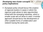 developing new cluster concepts policy implications