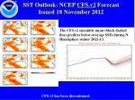 sst outlook ncep cfs v2 forecast issued 18 november 2012