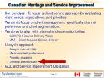 canadian heritage and service improvement