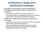 limitaciones y riesgos de la planificaci n estrat gica1