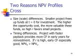 two reasons npv profiles cross