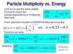 particle multiplicity vs energy