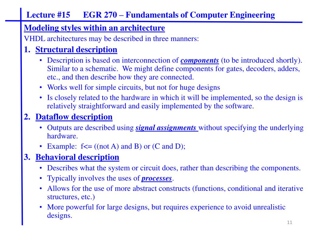 PPT - Lecture #15 EGR 270 – Fundamentals of Computer Engineering