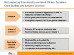 documenting community centered clinical services case studies and lessons learned