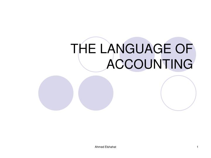 the language of accounting n.