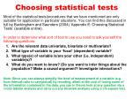 choosing statistical tests
