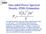 one sided power spectral density psd estimation