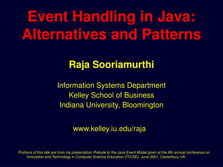 event handling in java alternatives and patterns n.