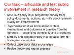 our task articulate and test public involvement in research theory