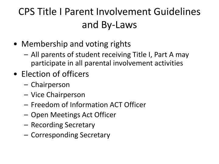 CPS Title I Parent Involvement Guidelines and By-Laws