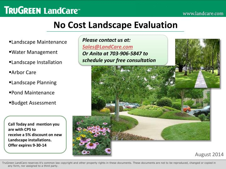 no cost landscape evaluation n.