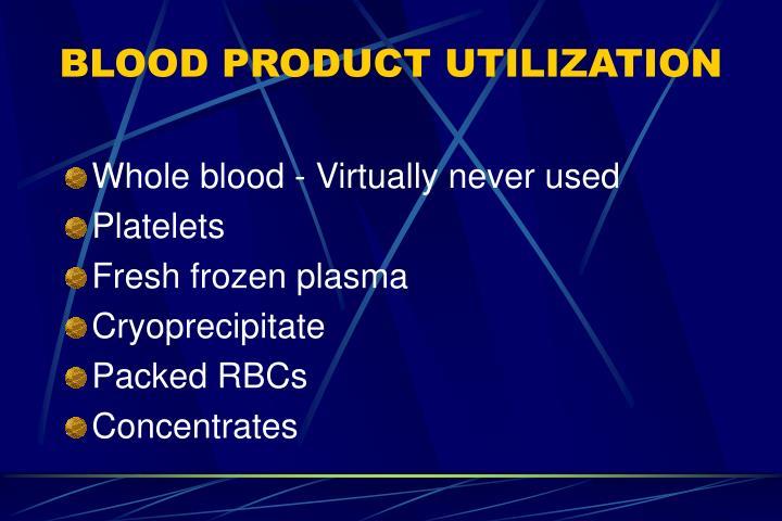 BLOOD PRODUCT UTILIZATION
